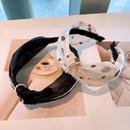 Korean organza polka dot pearl wide headband NHHD336101