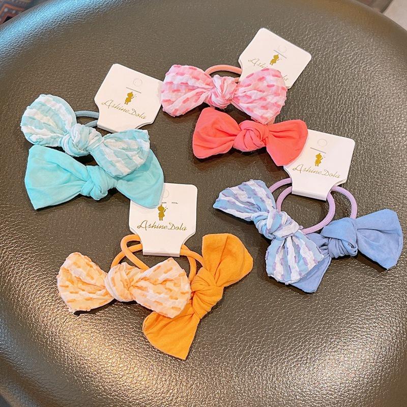 Korean contrast color bow children hair rope NHHD336110