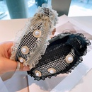 Korean lace pearl wide headband NHHD336113