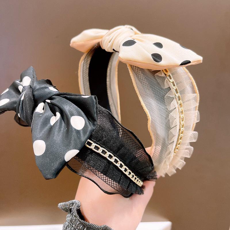 Korean Lace Polka Dot Bow Beadband  NHHD336115