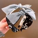 retro lattice color matching letters bow headband  NHHD336120