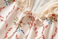 Fashion lace edge stitching bowknot floral short sleeve short dress NHAM336126