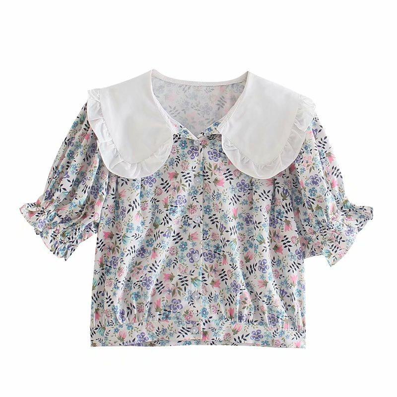 Retro floral puff sleeve shirt wholesale NHAM336127