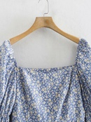 Fashion square collar midlength printed longsleeved dress NHAM336129