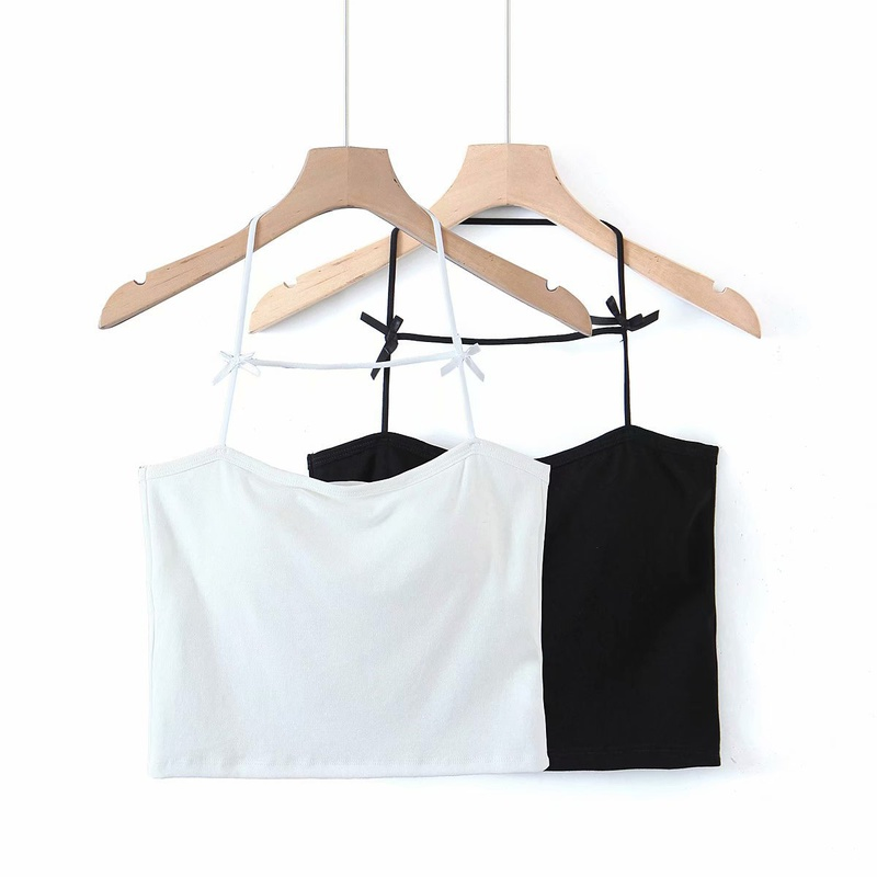 Fashion hanging neck bow tie sling vest NHAM336136
