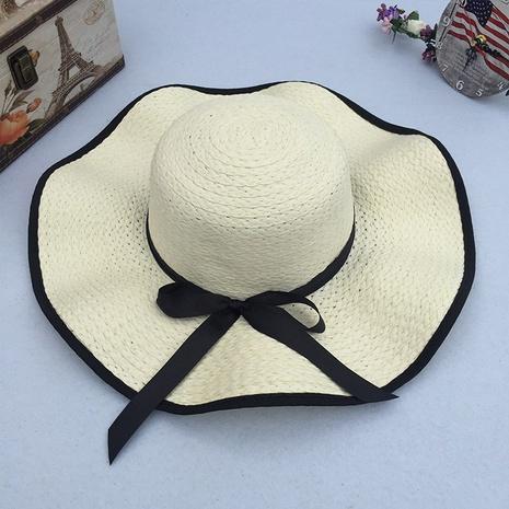 Sombrero de paja de protección solar de ala grande con arco de sombrilla de moda NHANS336055's discount tags