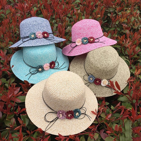 Fashion sunshade bow flower sunscreen foldable straw hat NHANS336050's discount tags
