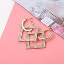 Full Rhinestone Square Long Earrings  NHQC336152
