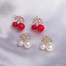 Diamond pearl cherry earrings NHQC336149