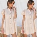 Fashion short sleeve lapel single breasted dress NHKO336791