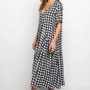 Fashion sexy vneck shortsleeved plaid stitching dress NHKO336788