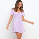 Fashion square neck lace plaid short sleeve dress NHKO336787