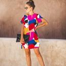 Fashion round neck shortsleeved multicolor stitching printed dress NHKO336786