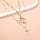 Fashion multilayer Jesus cross alloy necklace wholesale NHAN336222