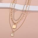 Retro chain multilayer golden lock rhinestone necklace NHAN336232