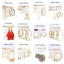 retro love star chain earrings set NHPJ336240