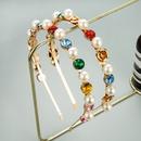 Korean inlaid rhinestone imitation pearl flower headband  NHLN336244