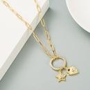 Fashion star heartshape copper inlaid zircon necklace wholesale NHLN336250