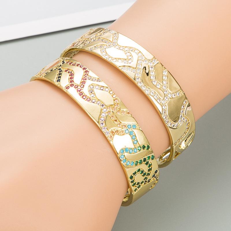 Fashion widesided gold hollow copper microinlaid zircon bracelet NHLN336251