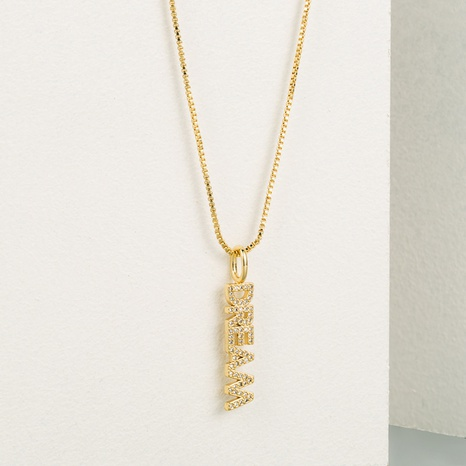 Fashion hollow long letter copper inlaid zircon necklace wholesale NHLN336253's discount tags