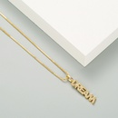 Fashion hollow long letter copper inlaid zircon necklace wholesale NHLN336253