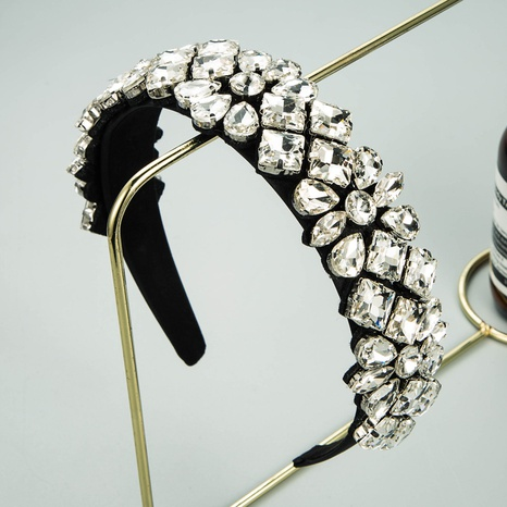 fashion glass diamond flower headband NHLN336256's discount tags