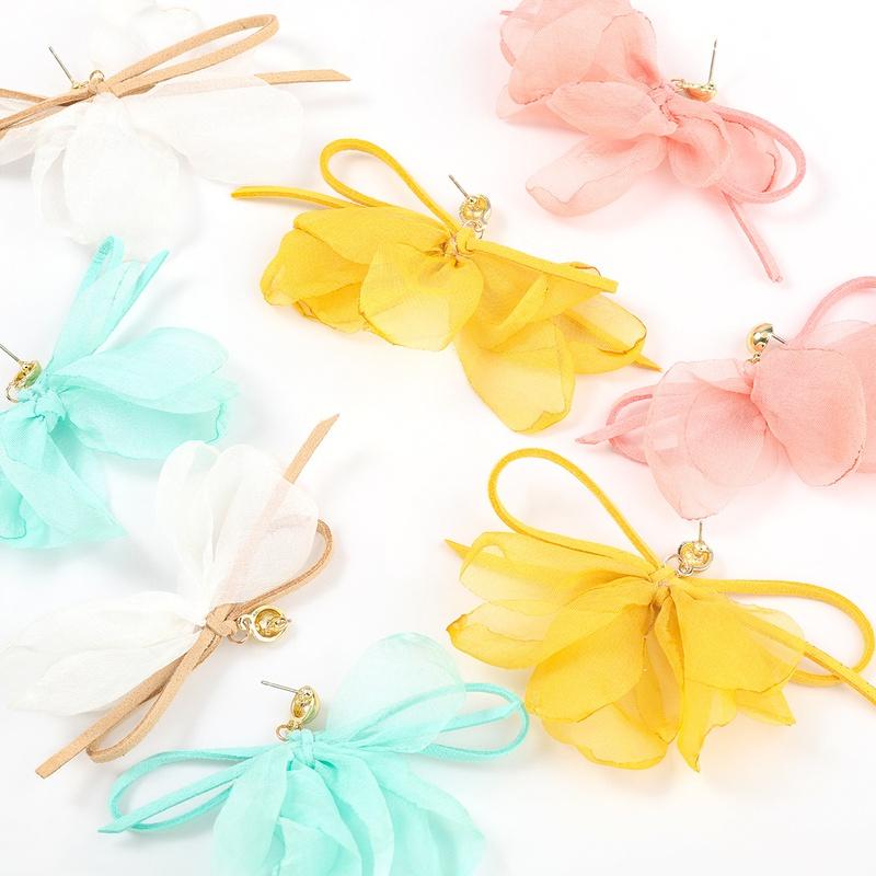 retro bowknot fabric flower earrings NHJE336263