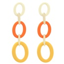 fashion oval stitching contrast long earrings  NHJE336271
