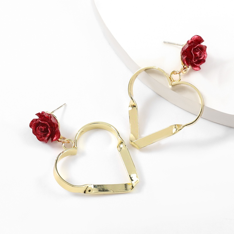 Fashion resin flower alloy heartshaped earrings  NHJE336276