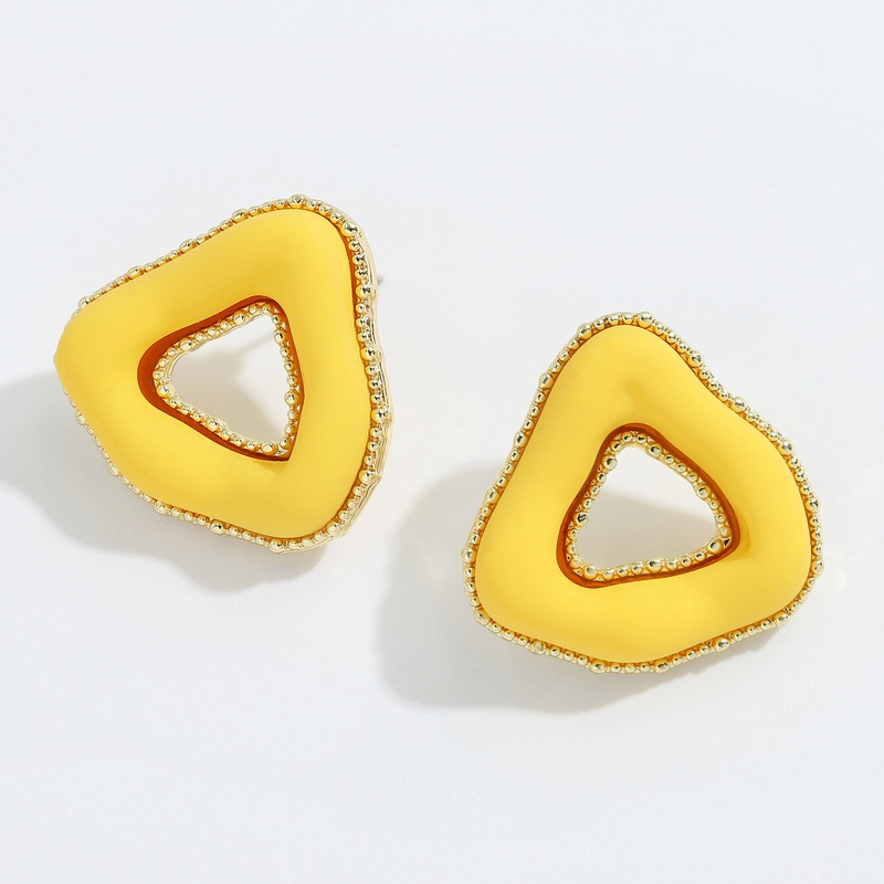 Korean candy color irregular twisted triangle earrings NHJQ336285