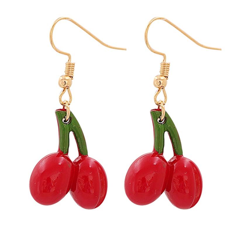 Korean Small Cherry Resin Earrings Wholesale NHJJ336300