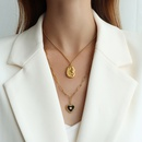 Fashion black heartshape dripping oil titanium steel necklace wholesale NHOK336303