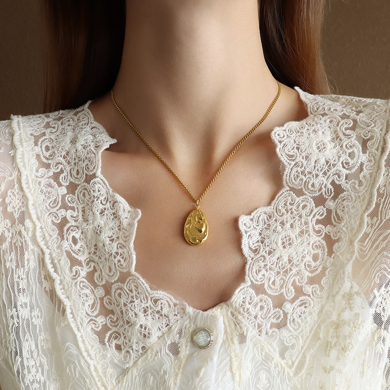 Fashion water drop titanium steel necklace wholesale NHOK336302