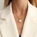 Fashion geometric pearl titanium steel necklace wholesale NHOK336308