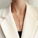Fashion gold bean tassel sexy titanium steel necklace wholesale NHOK336311