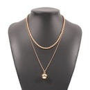 Simple metal doublelayer geometric ball necklace NHMD336325