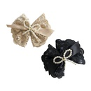 Korean lace pearl bow hairpin  NHSM336340