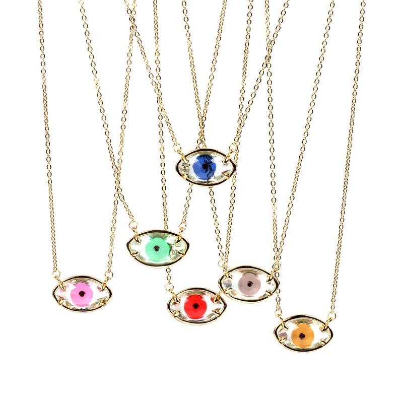 Fashion demon eye crystal copper necklace NHPY336367
