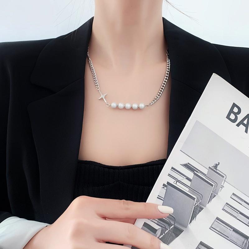 Fashion reflective pearl stitching necklace  NHMS336384