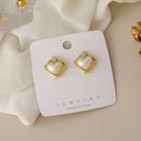 Korean heartshape imitation pearl earrings NHMS336386