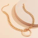 Hiphop singlelayer geometric ring thick chain necklace NHXR336388