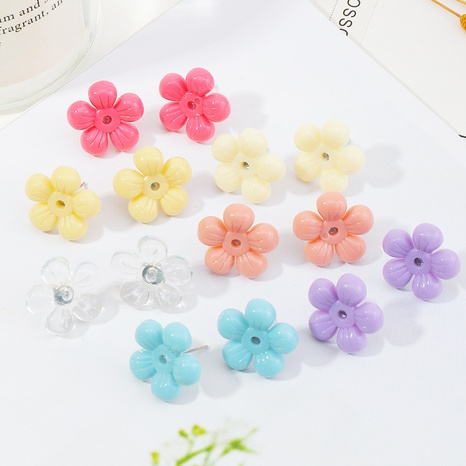 fashion candy color resin flower earrings NHNZ336396's discount tags