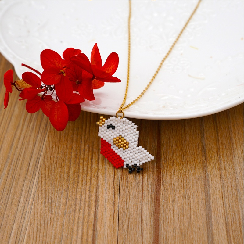 Fashion Miyuki Beads Bird Stainless Steel Necklace NHGW336423