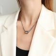 NHOK1556137-Steel-Color-Oil-Drop-Cylindrical-Necklace-40+5cm