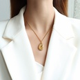 NHOK1556122-Drop-shaped-golden-necklace-40+5cm