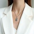 NHOK1556123-Drop-Shaped-Steel-Color-Necklace-40+5cm