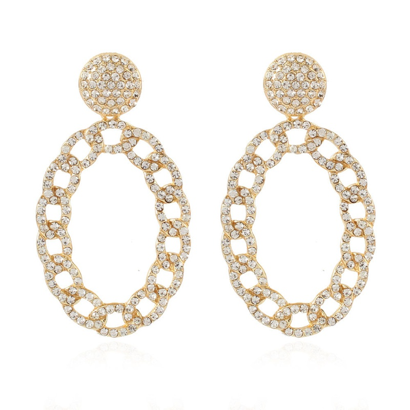 fashion alloy full diamond chain oval earrings  NHCT336447