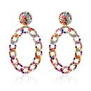 fashion alloy full diamond chain oval earrings  NHCT336447