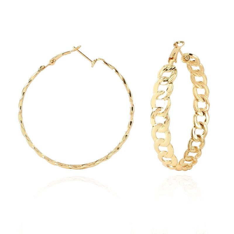 simple alloy chain earrings NHCT336453