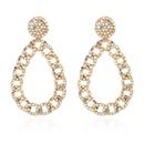 retro diamondstudded water drop hollow earrings  NHCT336454